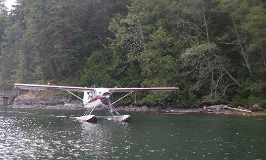 Plane landing at lodge