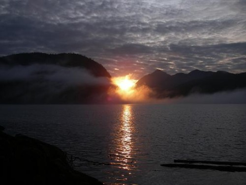 picturesque sunrise over Knight Inlet BC