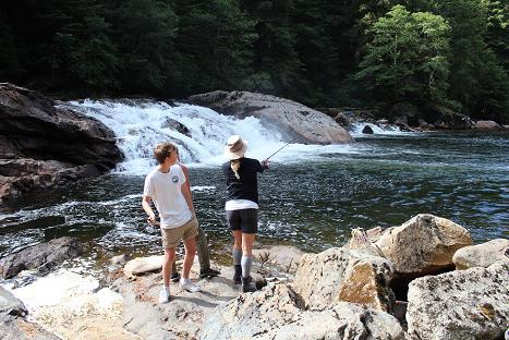 Wild river salmon fishing